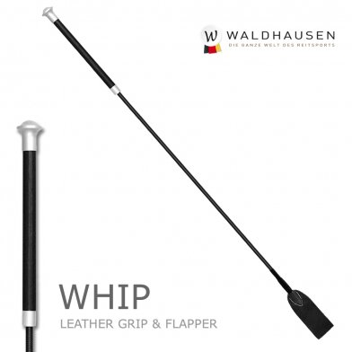 本革レザーグリップ 短鞭 65cm 本革フラッパー SWA1(黒ブラック) Waldhausen ムチ