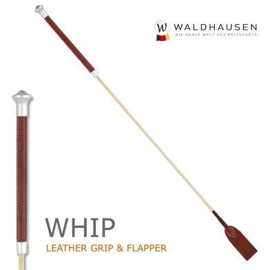 本革レザーグリップ 短鞭 65cm 本革フラッパー SWA2(ブラウン×ベージュ) Waldhausen ムチ