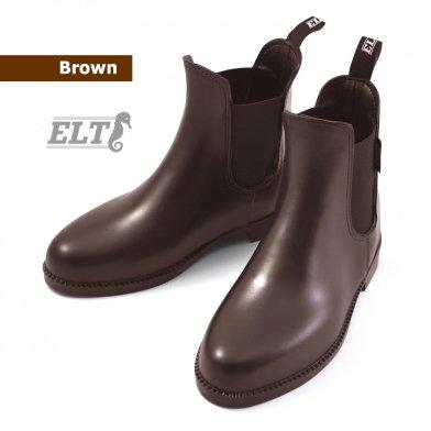 ELT ジョッパーブーツ PVCショートブーツ SBA2 防水 (ブラウン 茶色) 23.5〜25.5cm