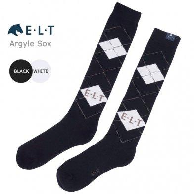 ELTアーガイル靴下 ロングソックス 乗馬靴下 SA1(黒×白) 【メール便 送料無料】