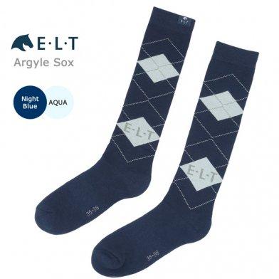 ELTアーガイル靴下 ロングソックス 乗馬靴下 SA4(ナイトブルー×アクア) 【メール便】