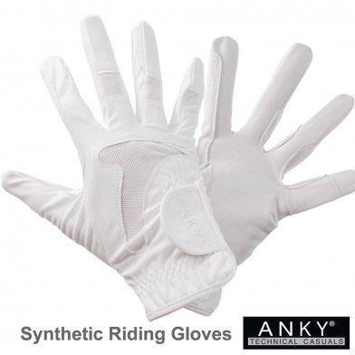 ANKY ライディング・グローブ 合皮手袋 競技用 AG20 [男女兼用] (ホワイト 白) 【ゆうパケット送料無料】