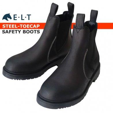 ELT セーフティブーツ SBS1 鉄板入り安全靴 本革レザー 24〜27cm(ブラック 黒)