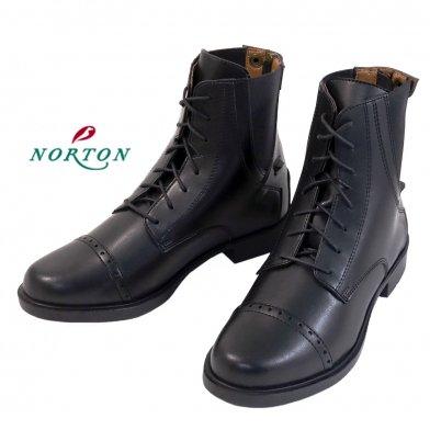 NORTON レースアップブーツESBL 編み上げ合皮ショートブーツ 紐靴 防水 22.5〜26.5cm(ブラック 黒)