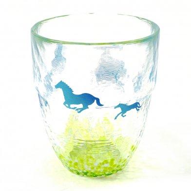 馬柄グラス(中) 馬モチーフ 馬デザイン 日本製 月夜野工房 焼酎グラス HG-307 馬柄コップ 250ml