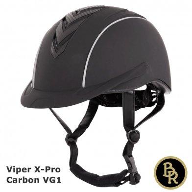 BR 乗馬用ヘルメット Viper X-Pro カーボン BRH10(黒 マットブラック)