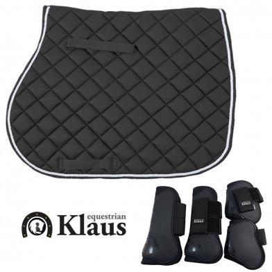 Klaus ゼッケン & 前後肢プロテクターセット(ブラック 黒)