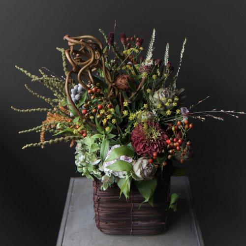 秋の草花やシックな色合いの アレンジメント 秋