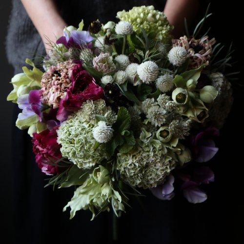 結婚記念日、お祝、爽やかな色合いのブーケ