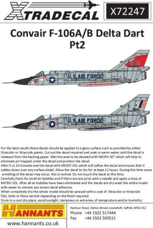 エクストラデカール X72247 Convair F-106A/B Delta Dart Pt 2 (8)  1/72