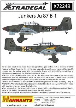 エクストラデカール X72249 Junkers Ju 87B-1 'Stuka' (13) 1/72