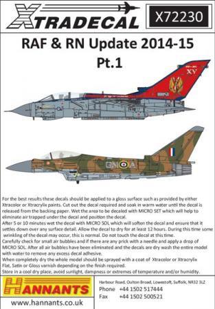 エクストラデカール X72230 RAF&RN アップデート 2014-15 Pt.1  1/72