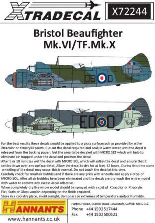 エクストラデカール X72244 ブリストル ボーファイター Mk.VI/TF.Mk.X  1/72