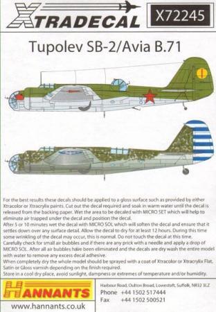 エクストラデカール X72245 ツポレフ SB-2/Avia B.71 1/72
