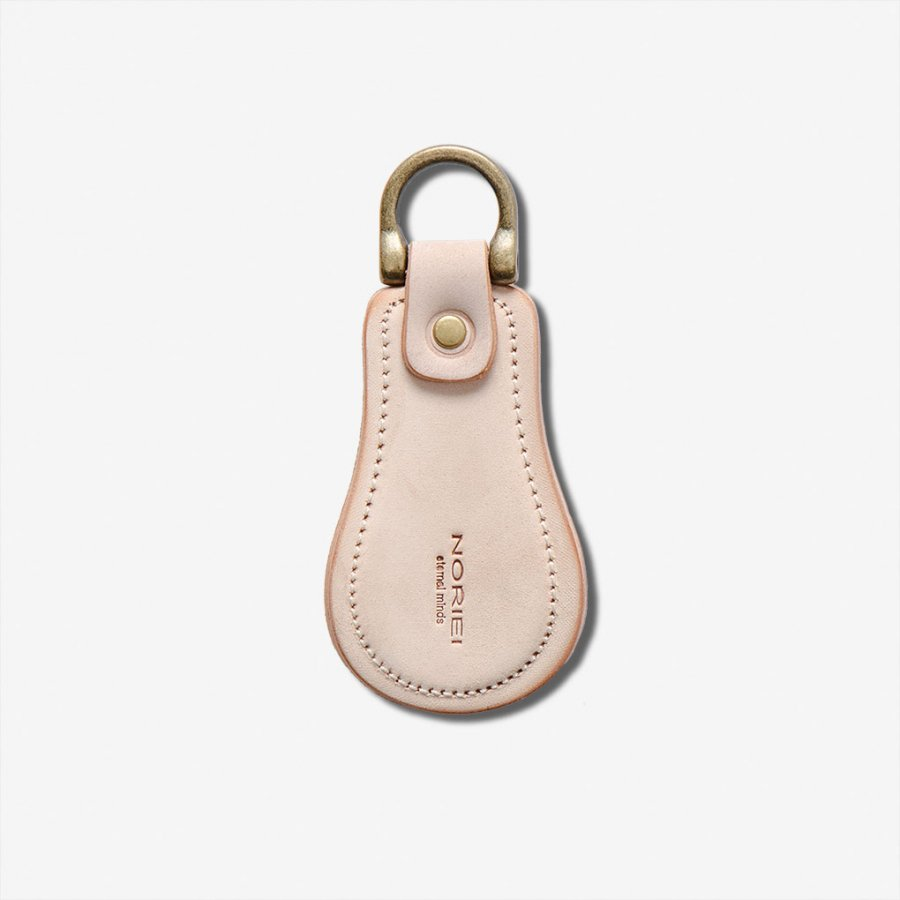 SHOE HORN KEY RING / NATURAL - UNFINISHED CORDOVAN