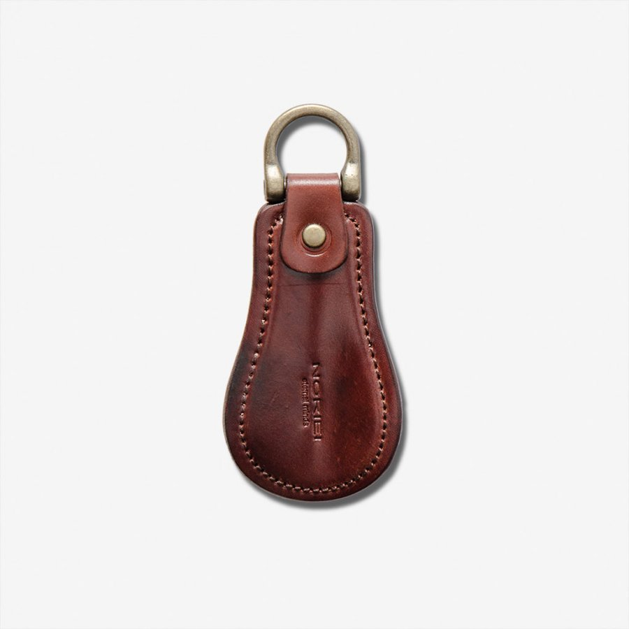 SHOE HORN KEY RING / BURGUNDY - OILED CORDOVAN
