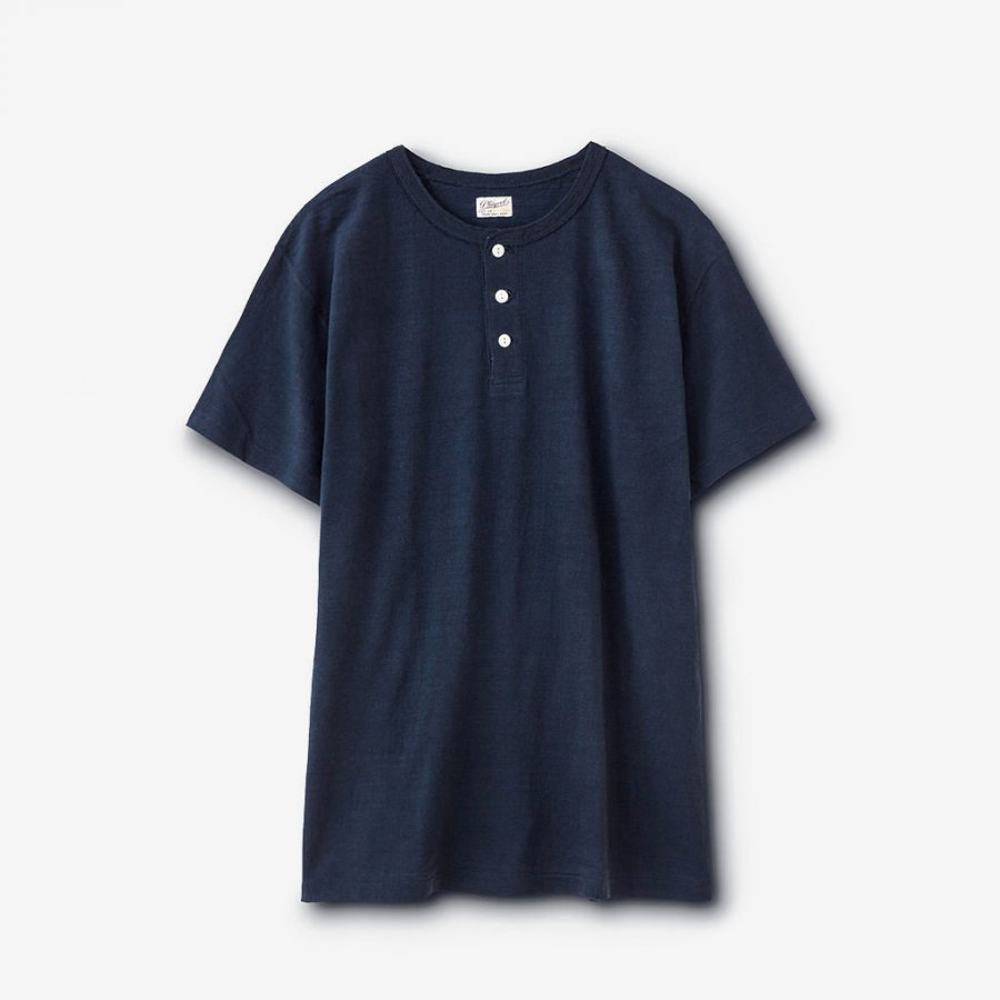 HENLEY NECK TEE / NAVY