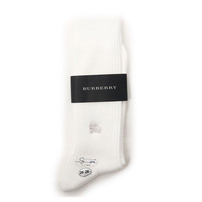 【新品】 ソックス 靴下 26~28cm バーバリー 61131 BURBERRY ホワイト系 メンズ