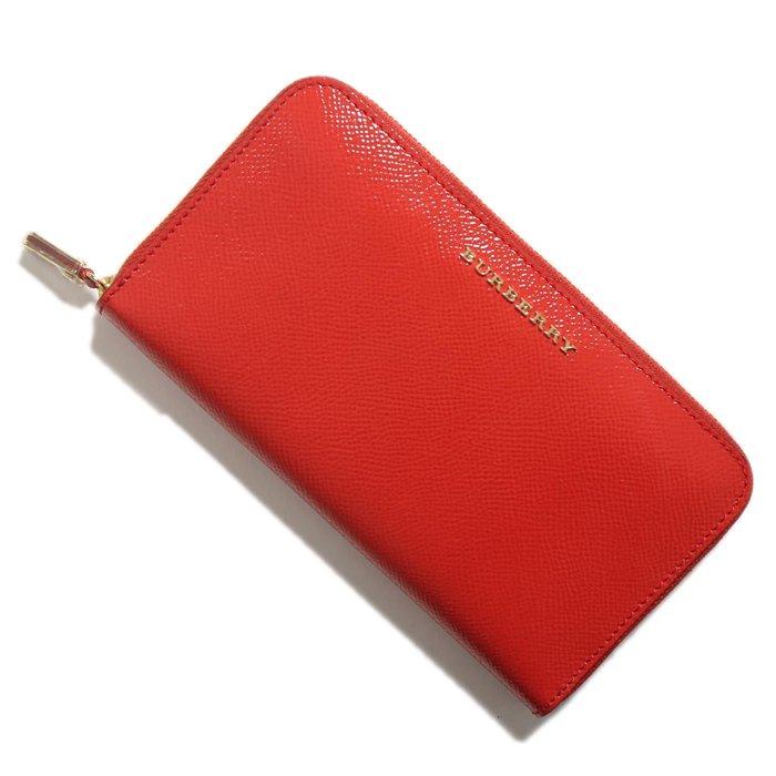 new style ea11a 21085 【新品】バーバリー ラウンドファスナーレザー長財布 赤色系 y-000066 メンズ レディース