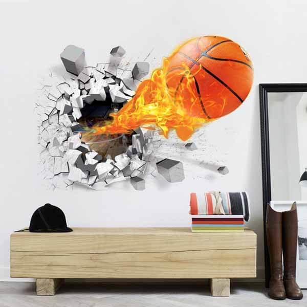 壁から飛び出す炎のバスケットボール ウォールステッカー【画像2】