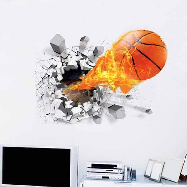 壁から飛び出す炎のバスケットボール ウォールステッカー【画像3】