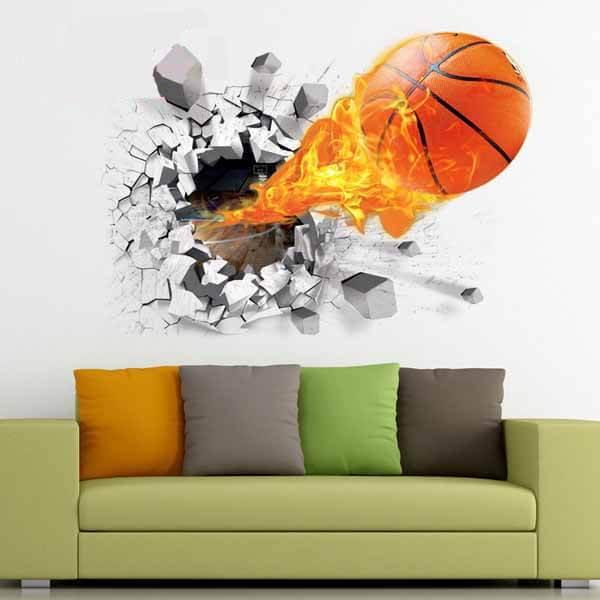 壁から飛び出す炎のバスケットボール ウォールステッカー【画像4】