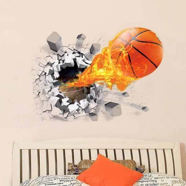 壁から飛び出す炎のバスケットボール ウォールステッカー【画像5】
