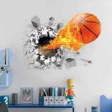 壁から飛び出す炎のバスケットボール ウォールステッカー