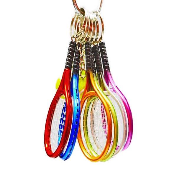 アクセサリカラフルテニスラケットとテニスボールのダブルキーホルダー1個【画像3】