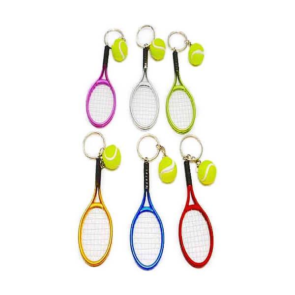 アクセサリカラフルテニスラケットとテニスボールのダブルキーホルダー1個【画像4】