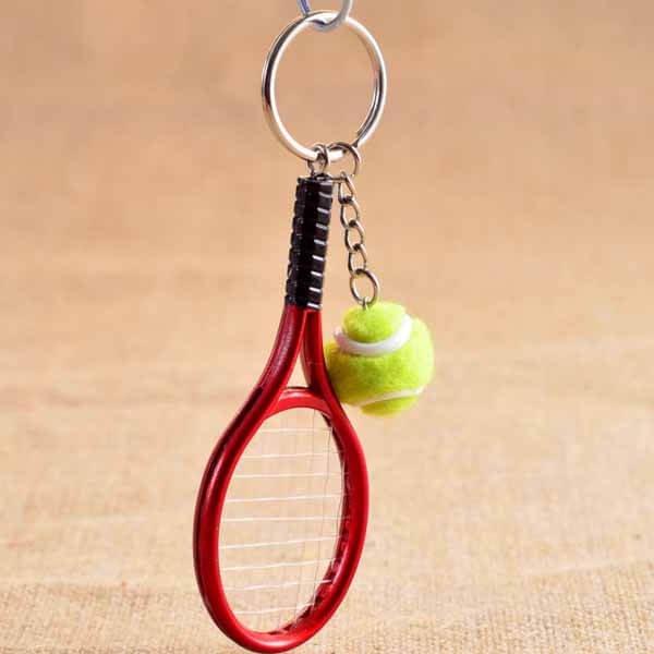 アクセサリカラフルテニスラケットとテニスボールのダブルキーホルダー1個【画像7】