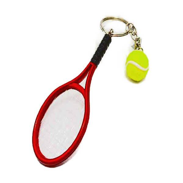 アクセサリカラフルテニスラケットとテニスボールのダブルキーホルダー1個【画像8】
