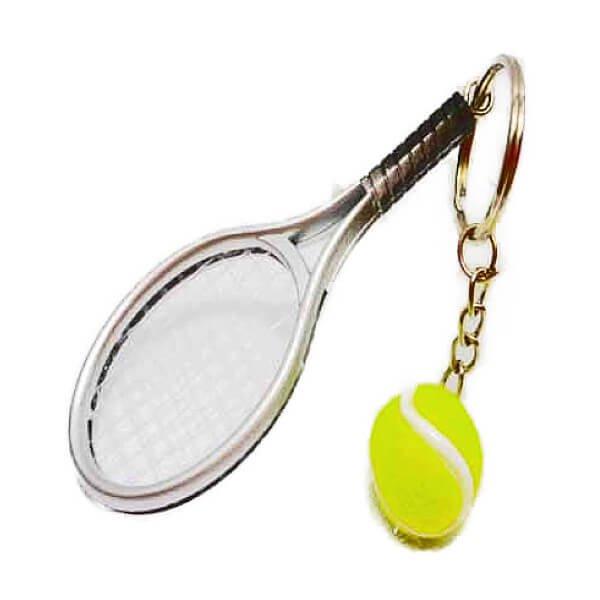 アクセサリカラフルテニスラケットとテニスボールのダブルキーホルダー1個【画像9】