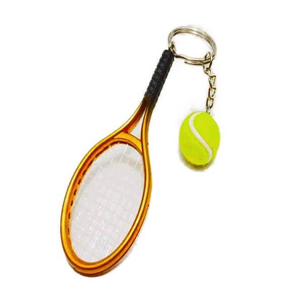 アクセサリカラフルテニスラケットとテニスボールのダブルキーホルダー1個【画像10】