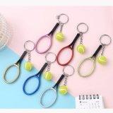 テニスボールグッズ・雑貨  カラフルテニスラケットとテニスボールのダブルキーホルダー 1個