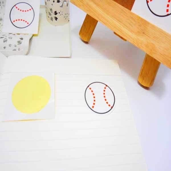 野球グッズ セット購入がお得! 野球ボール型の可愛いシール ボール直径4センチ 単価 19円〜【画像2】