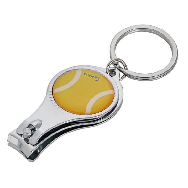 テニスボールグッズ・アクセサリー オリジナルテニスボール柄 爪切りキーホルダー(栓抜き付き)