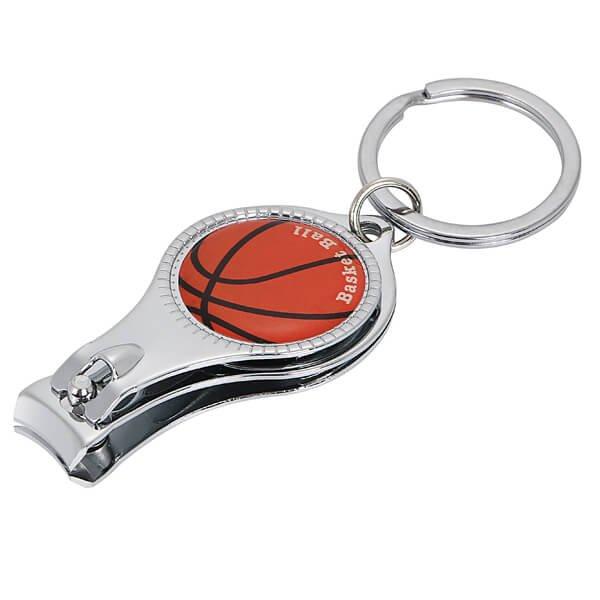 オリジナルバスケットボール柄(文字入) 爪切りキーホルダー(栓抜き付き)