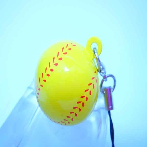 (商品入替セール)野球ボール型(黄色) 癒しの鈴ストラップ
