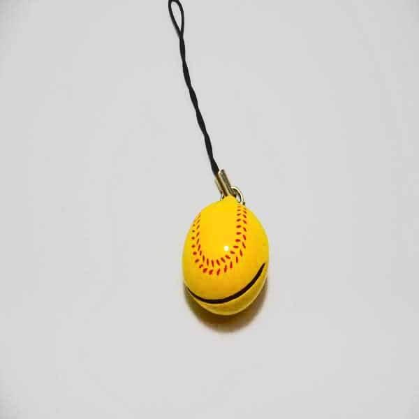 (商品入替セール)野球ボール型(黄色) 癒しの鈴ストラップ【画像3】