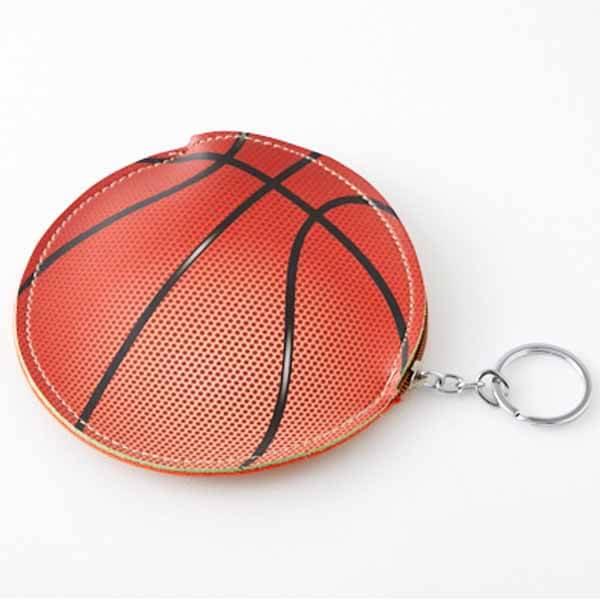 バスケットボール柄のサークルマルチケース キーリング付き