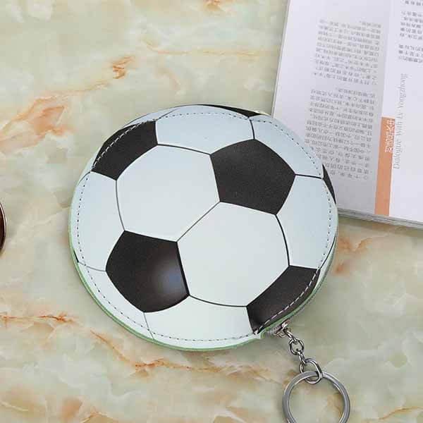 サッカーボール柄のサークルマルチケースキーリング付き