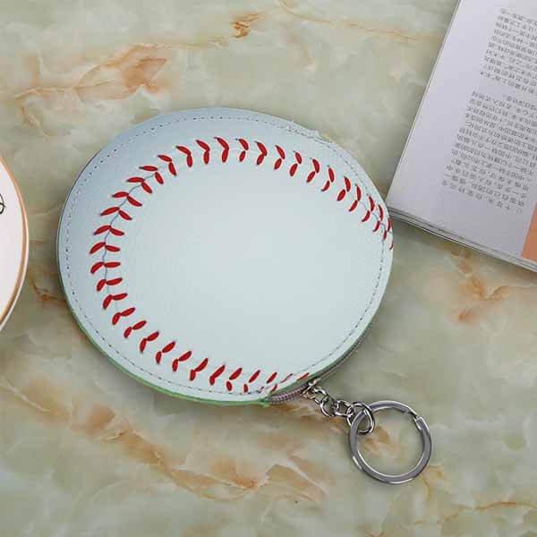 野球ボール柄のサークルマルチケースキーリング付き