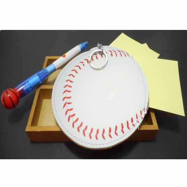 野球ボール柄のサークルマルチケースキーリング付き【画像6】