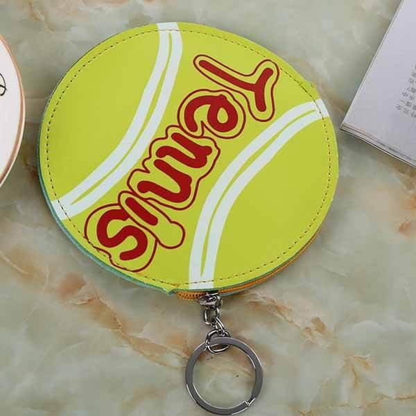 テニスボール柄のサークルマルチケースキーリング付き