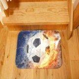 「炎vs水しぶき」 サッカーボール柄のユーティリティマット