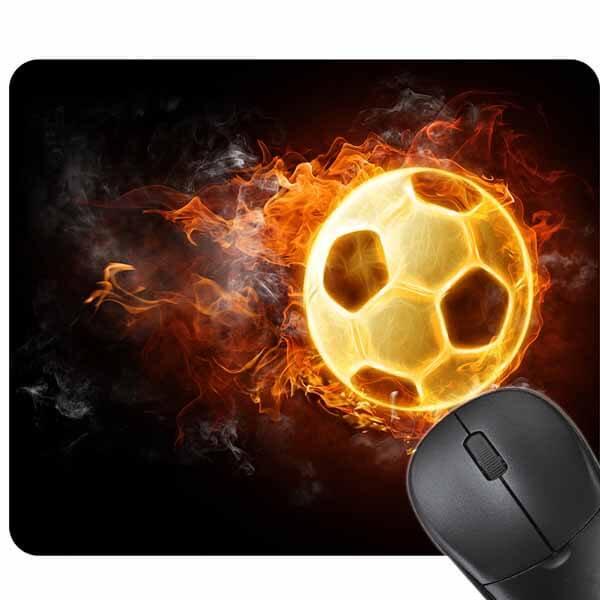 サッカーボールグッズ・雑貨 炎のサッカーボール柄のマウスパット