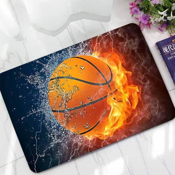 「炎と水しぶき」のバスケットボール柄 玄関マット