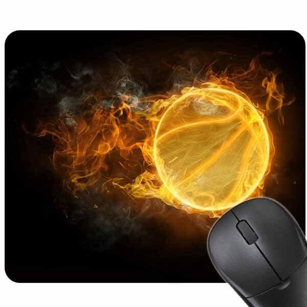 炎のバスケットボール柄のマウスパット