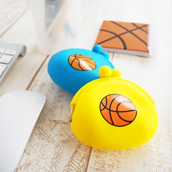 シリコンスポーツがま口財布(小物入れ)オリジナルバスケットボール【画像2】
